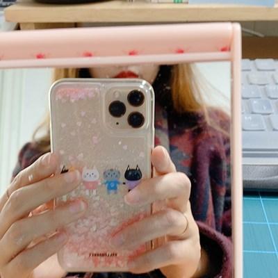 [헬로래빗]손에손잡고 기본 아쿠아 글리터 핸드폰 케이스