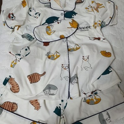[무료배송] 고양이 패턴 반팔 잠옷