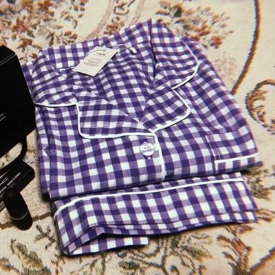 (5color)크레용 체크 커플 잠옷 파자마 파티