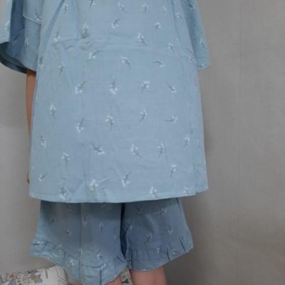 시원한 순면 100% 잔플라워 파자마 여름 잠옷