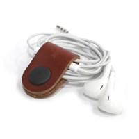LEATHER CABLE HOLDER _ BROWN