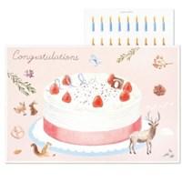 케이크 카드 캔들- 스트로베리
