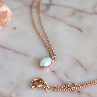 미니 오벌 오팔 목걸이(10월탄생석)mini oval opal necklace