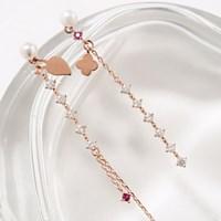 나뭇잎꽃 언발 루비포인트 귀걸이