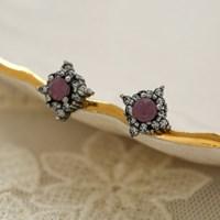 핑크 미들 스톤 귀걸이
