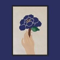 푸른 모란 한송이 - 민화 일러스트 액자