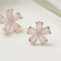 핑크 꽃 심플 큐빅 귀걸이