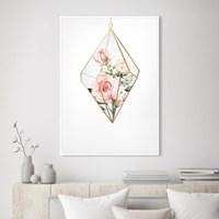 다이아몬드 장미 꽃 액자 보테니컬 그림 인테리어 포스터