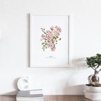 러브 장미 꽃 액자 보테니컬 그림 인테리어 포스터