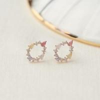 핑크 레인 큐빅 귀걸이