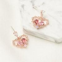 핑크 하트 인 하트 귀걸이