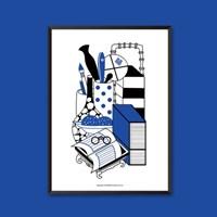 책가도B - 민화 일러스트 포스터 액자