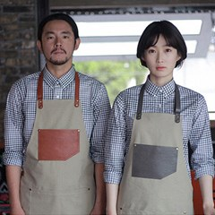 #AA1513 canvas leather string apron (Grey)