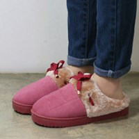 Fur cuffs ribbon slippers_KM14w156