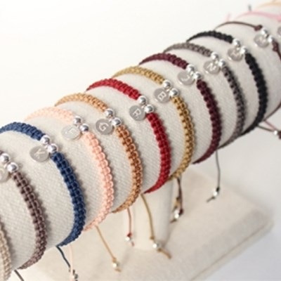 실버 이니셜 팬던트 팔찌(14colors)(silver 925,커플팔찌)