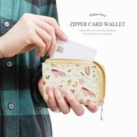 윌로우 패턴 지퍼 카드 지갑