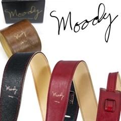 [Moody] Distressed Leather 2.5 Std - Black/Cream - 빈티지 레릭