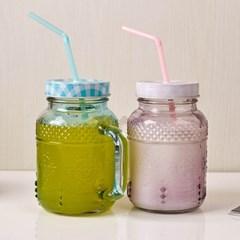 MAKA 칼라 Straw-Drinking Jar (빨대드링크자) 580ml 2P