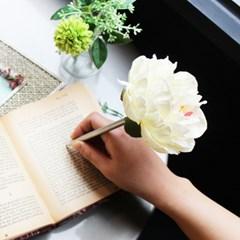 white classy peony flower pen