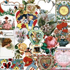 스타일리시한 테마별 빈티지 스티커 - LB-37622 Hearts and Flowers