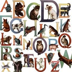 스타일리시한 테마별 빈티지 스티커 - LB-34355 Animal alphabet