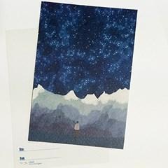 알프스의 밤하늘을 너에게 일러스트 엽서