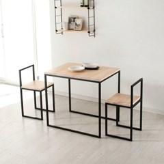 [까사엔]블랙 스틸 프레임 원목 2인 식탁세트(의자포함)