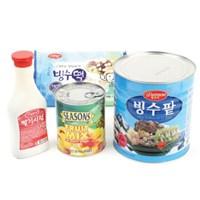 팥빙수 3kg_세트모음 (빙수팥+빙수떡+후르츠칵테일+시럽)