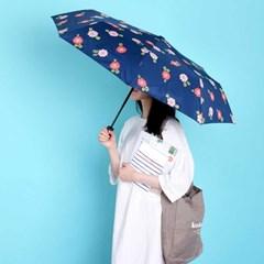 Bella Flora 패턴 3단 안전 완자동 우산 (navy)