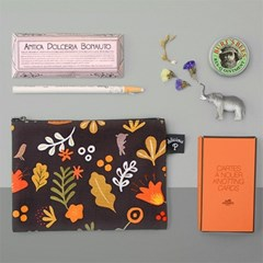 Floral-brown: Small Pouch