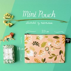 Floral-apricot: Small Pouch