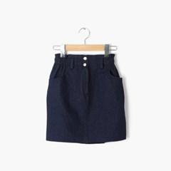 two button mini denim skirt