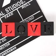 LOVE 우드 LED 티라이트 캔들 큐브 블럭