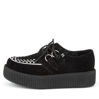 [T.U.K] V8366Black and White Suede Viva Mondo Creepers