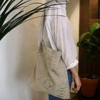 linen stitch beige bag