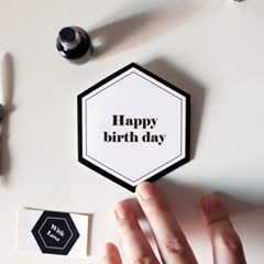 Happy birth day hexagon card