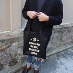 [깅엄버스]레트로레더백블랙Retro Leatherbag black