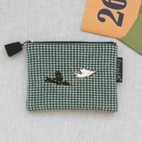Knit check_Green bird pouch(s)
