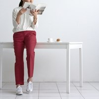 [Fabric]Autumn Washing Solid Linen Steel Burgundy