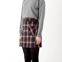 pocket check banding skirt