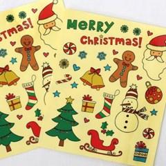 크리스마스 투명 스티커(8매)