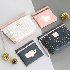 코니테일 기저귀 파우치 세트- 핑크 (기저귀가방)