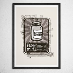이태리 원목액자 인테리어 포스터 : Pure Mind - 3색(대형, 중형)