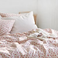 [Fabric] 수줍은듯 붉게 물든 카멜리아, 패턴 린넨