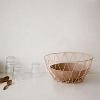 Wire round basket - Salmon pink