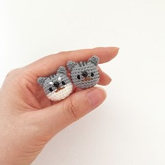 손뜨개 브로치, 뱃지 - 고양이 (고등어태비)