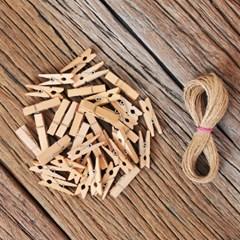 나무집게 마끈 원통세트 - 내추럴