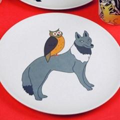 헝그리키즈플레이트(고양이,기린,얼룩말,늑대)