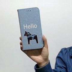 [이니셜/다이어리케이스] 빈티지목마/헬로블루(For 아이폰/갤럭시)