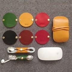 [이탈리아베지터블가죽] 이어폰, USB 케이블홀더(와인)